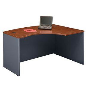 "(Scratch & Dent) Bush Business Furniture Components L Bow Desk Right Handed, 60""W x 43""D, Hansen Cherry/Graphite Gray"