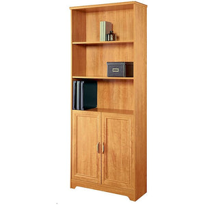 "Realspace Magellan Collection 5-Shelf Bookcase W/ Doors, 72""H x 30 1/2""W x 11 3/5""D, Honey Maple"