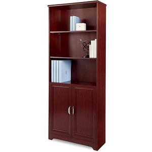 "(Scratch and Dent) Realspace Magellan Outlet Collection 5-Shelf Bookcase With Doors, 72""H x 30 1/2""W x 11 3/5""D, Classic Cherry"