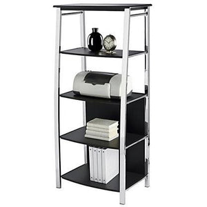 "Realspace Mezza Outlet Bookcase, 59 4/5""H x 29 7/10""W x 17 1/2""D, Black/Chrome"