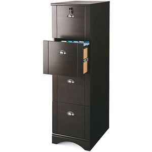"(Scratch and Dent) Realspace Outlet Dawson 4-Drawer Vertical File Cabinet, 54""H x 15 1/2""W x 21 3/4""D, Cinnamon Cherry"