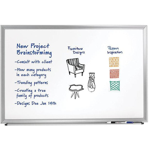 Foray Outlet Aluminum-Framed Dry-Erase Board, 36'' x 48'', White Board, Silver Frame