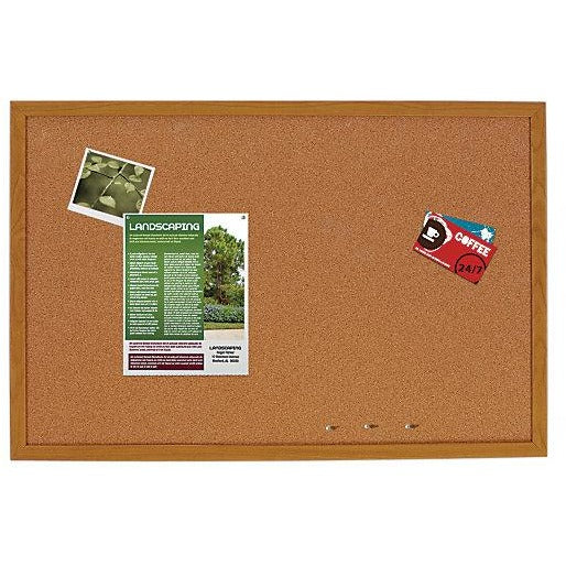 FORAY Outlet Cork Bulletin Board, Oak Finish Frame, 36