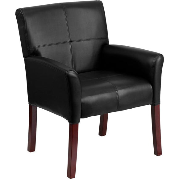 Executive Leather Guest Chair with Mahogany Wood Legs