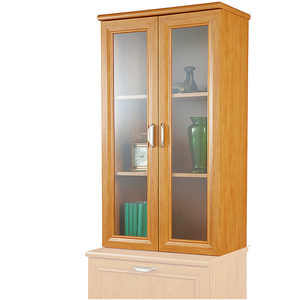"Realspace Magellan Collection 3-Shelf Hutch With Doors, 42""H x 23 1/2""W x 11""D, Honey Maple"