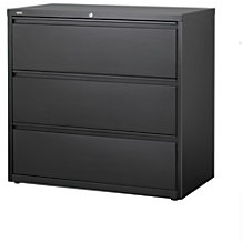 "Realspace PRO Steel Lateral File, 3-Drawer, 40 1/4""H x 42""W x 18 5/8""D, Black"