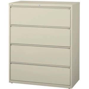 "(Scratch & Dent) WorkPro Outlet 42""W 4-Drawer Steel Lateral File Cabinet, 52 1/2""H x 42""W x 18 5/8""D, Putty"