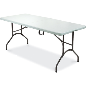 "Realspace Folding Table, Molded Plastic Top, 28 1/2""H x 30""W x 72""D, Gray Granite"