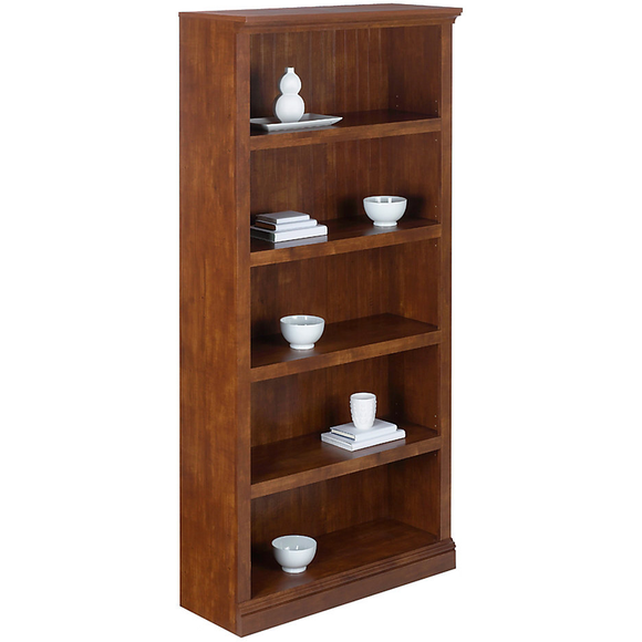 Realspace Premium Outlet Wide Bookcase, 5-Shelf, 72 1/8''H x 35 3/8''W x 13 5/8''D, Brushed Maple 491660