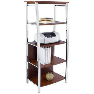 "Realspace Outlet Mezza Bookcase, 60""H x 26 1/2""W x 17 1/2""D, Cherry/Chrome"