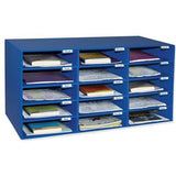Pacon 70% Recycled Mailbox Storage Unit, 15 Slots, Blue