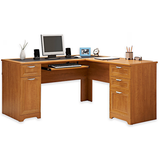 "(Scratch and Dent) L-Shaped Outlet Desk, 60""wide x 60""deep x 30""high, Realspace Magellan Collection, Honey Maple"