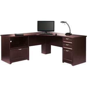 "Scratch & Dent L-Shaped Outlet Desk Cherry Finish, 30""H x 70 9/10""W x 23 1/5""D, Magellan Performance Collection"