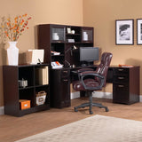 "Realspace Outlet Magellan Collection L-Shaped Desk, 60""wide x 60""deep x 30""high, Espresso Finish"