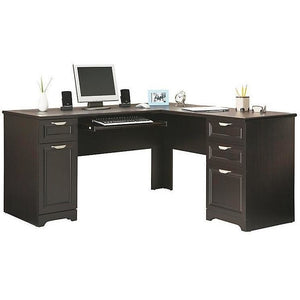 "(Scratch and Dent) Realspace Outlet Magellan Collection L-Shaped Desk, 60""wide x 60""deep x 30""high, Espresso Finish"