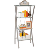 "Realspace Outlet Zentra Bookcase, 60""H x 28""W x 17""D, Silver/Clear"