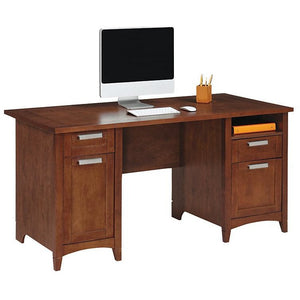 "Realspace Marbury Outlet Collection Executive Desk, 29 1/3""H x 60""W x 29 1/2""D, Auburn Brown"