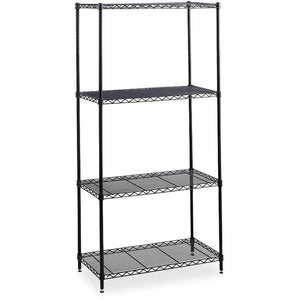 "Safco Outlet Industrial Wire Shelving Starter Unit, 36""W x 24""D, Black"