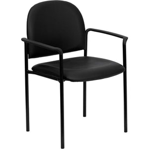 Leather Side Stack Chair w/ Arms, Black  (250-lb. Capacity)