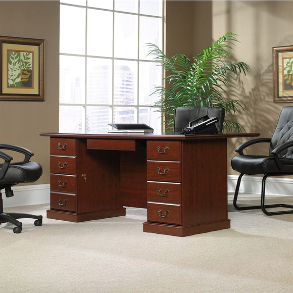 (Scratch & Dent) Sauder Heritage Hill Outlet Executive Desk, 29 3/4''H x 70 1/2''W x 35 1/2''D, Classic Cherry