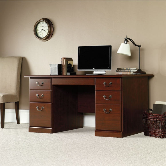(Scratch and Dent) Sauder Heritage Hill Outlet 59 1/2''W Executive Desk, 29''H x 59 1/2''W x 29 1/2''D, Classic Cherry