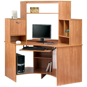 Realspace Outlet Magellan Collection Corner Workstation, Honey Maple