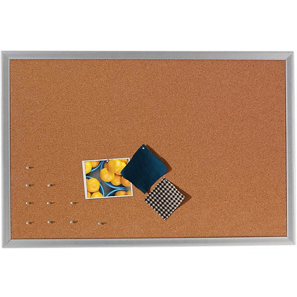 FORAY Outlet Cork Bulletin Board, Aluminum Frame, 96