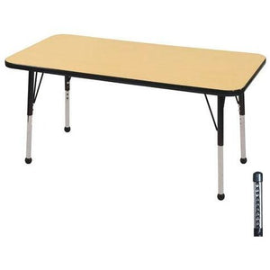 "ECR4KIDS Outlet Adjustable Rectangle Activity Table, Chunky Legs, 24""W x 48""D, Maple Top/Black Legs"