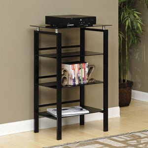 "Realspace Outlet Lake Point Audio Rack, 38""H x 24""W x 16""D, Black"