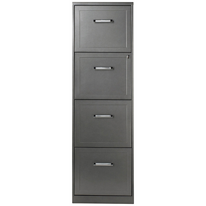 "(Scratch & Dent) Realspace Outlet 4-Drawer File Cabinet, 46 3/8""H x 14 1/4""W x 18""D, 30% Recycled, Metallic Charcoal"