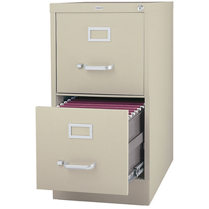 "Realspace PRO Outlet 26 1/2""D Vertical Letter-Size File Cabinet, 2 Drawers, Putty"
