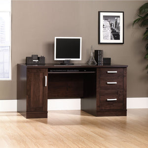 "Sauder Outlet Office Port Computer Credenza, 29 1/2""H x 59 1/2""W x 23 1/2""D, Dark Alder"
