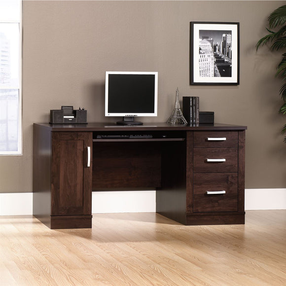 Sauder Outlet Office Port Computer Credenza, Dark Alder