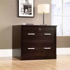 "Sauder Office Port Outlet Collection, Laminate Lateral File, 29 1/2""H x 33 1/8""W x 23 1/2""D, Dark Alder"