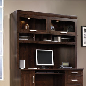 "Sauder Outlet Office Port Computer Credenza Hutch, 47 1/2""H x 59 1/2""W x 15 3/4""D, Dark Alder"