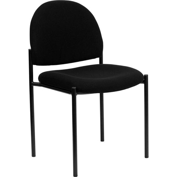 Patra Series Comfort Armless Fabric Stackable Steel Side Reception Chair