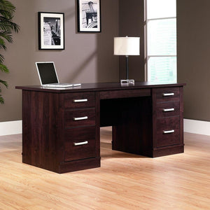 "Sauder Office Port Outlet Executive Desk, 29 1/2""H x 65 1/2""W x 29 1/2""D, Dark Alder"