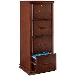 Realspace Outlet Premium File, 4 Drawers, 55 2/5''H x 21''W x 18 9/10''D, Dark Cherry