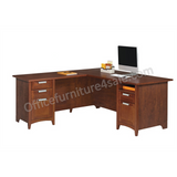 "Realspace Marbury Outlet L-Shaped Desk, 29 1/3""H x 70 7/8""W x 70 7/8""D, Auburn Brown"