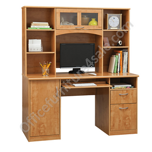 "Realspace Outlet Landon Desk With Hutch, 64""H x 55 1/2""W x 23""D, Oak"