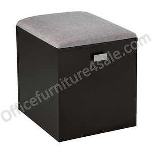 "(Scratch & Dent) See Jane Work Outlet Kate File Cabinet/Seat, 18-1/2""H x 15-3/8""W x 18-1/8""D, Black/Gray"