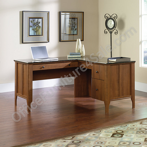"Sauder Appleton Outlet Collection, Faux Marble Top L Desk, 30 3/4""H x 60""W x 59""D, Sand Pear"