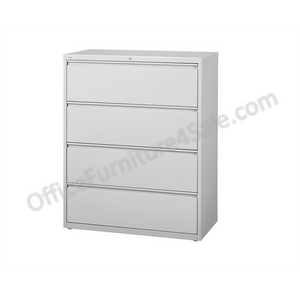 "(Scratch & Dent) WorkPro Outlet Steel Lateral File, 4-Drawer, 52 1/2""H x 30""W x 18 5/8""D, Light Gray"