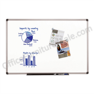 "FORAY Outlet Porcelain Magnetic Dry-Erase Board, 48"" x 72"", White Board, Aluminum Frame With Titanium Finish"