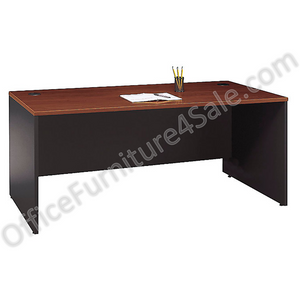 (Scratch and Dent) Bush Outlet Components Manager's Desk, 29 3/4''H x 71''W x 29 3/8''D, Hansen Cherry/Graphite Gray