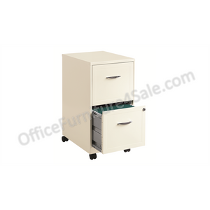 "(Scratch & Dent) Hirsh Industries Outlet SOHO Letter-Size Mobile File Cabinet, 2 Drawers, 26 1/2""H x 14 1/4""W x 18""D, Pearl White"