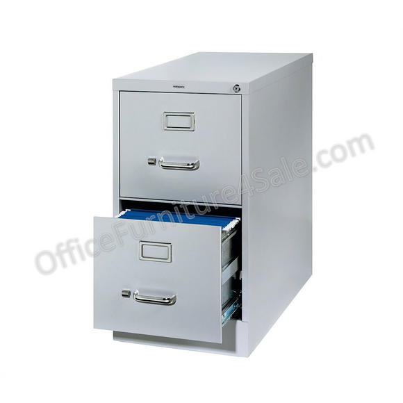 (Scratch & Dent) Realspace PRO Outlet 26 1/2''D Vertical Letter-Size File Cabinet, 2-Drawer, Light Gray