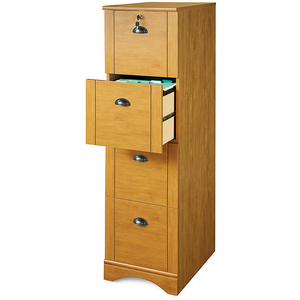 "Realspace Outlet Dawson 4-Drawer Vertical File Cabinet, 54""H x 15 1/2""W x 21 3/4""D, Canyon Maple"