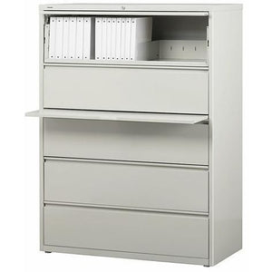 "(Scratch & Dent) WorkPro Outlet Steel Lateral File, 5-Drawer, 67 5/8""H x 42""W x 18 5/8""D, Light Gray"