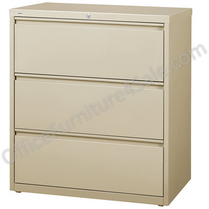 "(Scratch & Dent) WorkPro Outlet Steel Lateral File, 3-Drawer, 40 1/4""H x 36""W x 18 5/8""D, Putty"